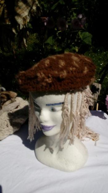 Bonnet alpaga marron et beige naturel, crochet