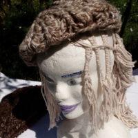 Bonnet lin et alpaga chocolat, naturel, filé main, crochet