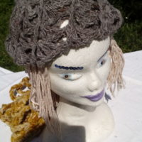Bonnet alpaga anthracite naturel, crochet