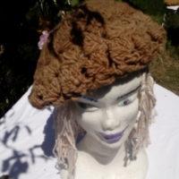 Bonnet, béret,, mouton, filé main, teinture naturelle, crochet