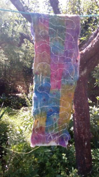 Grande écharpe, feutre, multicolore,exceptionnellement, teinture chimique, mouton