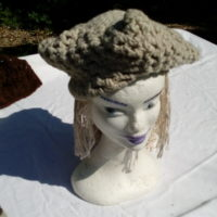 Bonnet hexagonal, gris naturel, mouton, crochet