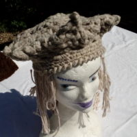 Bonnet gris hexagonal, mouton, naturel, crochet