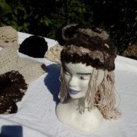 Bonnet mouton, blanc et marron naturel, crochet