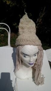 Bonnet, blanc, mouton, métier circulaire, crochet, réversible
