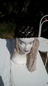 Bonnet, alpaga, noir et brun, crochet