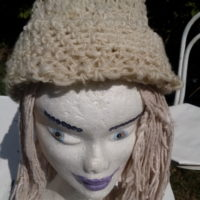 Bonnet, blanc, mouton, filé main, réversible crochet