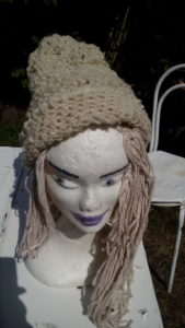 Bonnet, blanc, mouton, filé main, réversible crochet