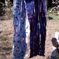 Grande écharpe, châle rectangulaire, feutre, mouton, teinture chimique, exceptionnellement